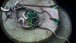 Шпилька для волос Green fairy с кварцем