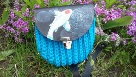 Вязаная сумка ракушка с клапаном  Бирюза