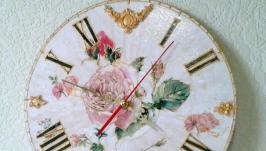 Настенные часы шебби шик ′Большая роза′