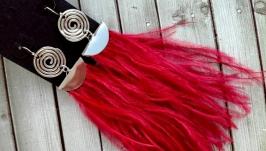 Серьги - кисточки  из бордовых страусиных перьев