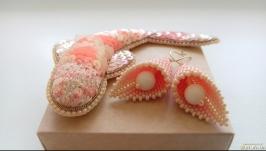 Комплект Карпик Кої персик (брошка і сережки)