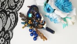 Сине-золотая брошь птица