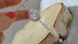 Серебряная подвеска, кулон с барочным жемчугом  ′Белый пион′