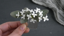 Гребень для волос с цветами белой сирени  Гребінь з маленькими квітами