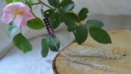 Серьги с горным хрусталем, розовым кварцем и аметистом ′Нити′