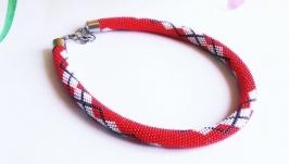 Жгут-колье красное ожерелье ручной работы из бисера Подарок