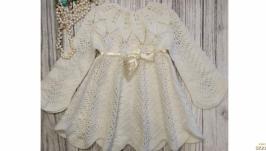 Нарядное детское платье. Кружевное платье для крещения. Ажурное платье