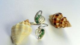 Серебряное кольцо на палец ноги ′Нефритовые листочки′.