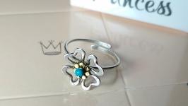 Серебряное кольцо на палец ноги ′Клевер′
