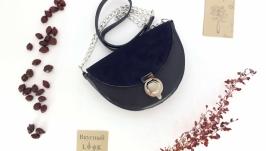 Кожаная сумка-седло ′Шиповник′ (синий)
