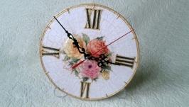 Настольные часы шебби шик ′Разноцветные розы′