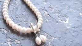 Комплект з натуральних перлів у сріблі 925 намисто і сережки