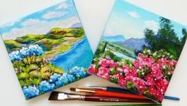 Подарочные картины-миниатюры Цветущее предгорье