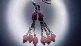 Серьги розовый Кварц натуральный