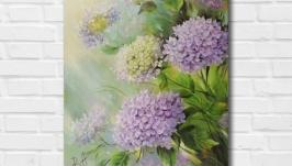 Картина маслом ′Гортензия′ 45х35 см, холст на подрамнике, масло