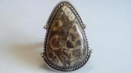 Кольцо Аммонит 18,5 натуральный