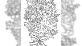 Картинка антистресс-раскраска ′Букет цветов′