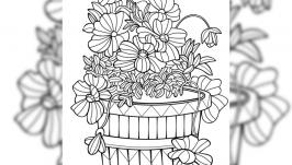 Картинка антистресс-раскраска ′Букет цветов 04′