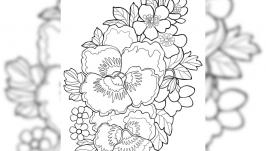 Картинка антистресс-раскраска ′Букет цветов 05′