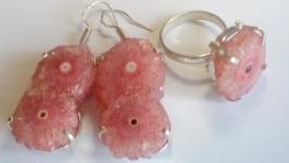 Комплект Друза Розового Кварца натуральная кольцо 18 и серьги