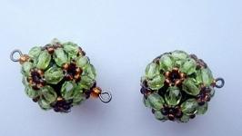 Бусина-подвеска оливковая с тёмным топазом 18мм