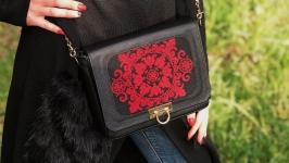 Шкіряна сумка  ′Червоний монохром′