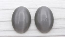 Кабошон кошачий глаз овал 25х18  серый