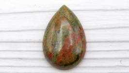 Кабошон УК2 унакит капля натуральный камень зеленый