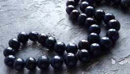 Намисто з натуральних чорних перлів зі срібною застібкою