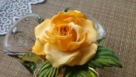Брошь Роза из натурального шелка