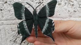 Малахитовая бабочка из замши