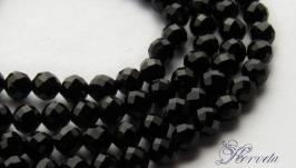 Черная шпинель натуральная бусины 3 мм с ювелирной огранкой