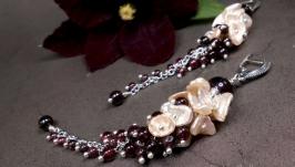 РЕЗЕРВ! Длинные серебряные серьги-грозди Гранатовый Сок