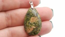 Подвеска Уп6 унакит капля натуральный камень зеленый
