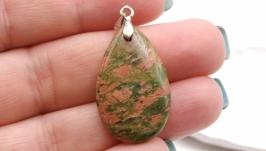 Подвеска Уп5 унакит капля натуральный камень зеленый