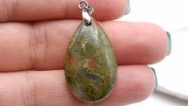 Подвеска Уп2 унакит капля натуральный камень зеленый