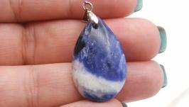 Подвеска Сп1 содалит капля кулон натуральный камень синий