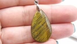 Подвеска тигровый глаз капля кулон натуральный камень коричневый