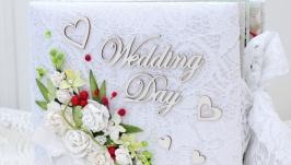 Свадебный объемный альбом ручной работы , свадебный скрапальбом