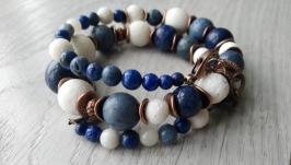 Браслет ′Голубой и белый Коралл и лазурит