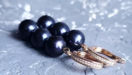 Сережки з натуральних чорних перлів у позолоті