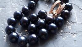 Комплект з натуральних чорних перлів намисто і сережки