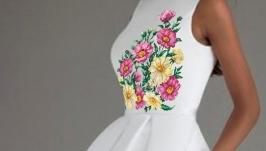 Платье с вышивкой выпускной или свадебный вариант - Ромашки
