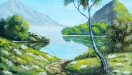 Картина пейзаж ′Дорога к озеру′ 40 х 30 см