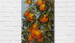 Картина маслом ′Медовые мандарины Флориды′ 50х30 см, холстмасло