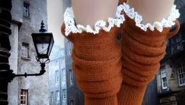 Андерсен, носки вязаные, женские, шерстяные с ручным кружевом