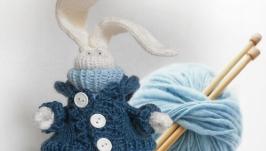 сНежный зайчик, игрушка вязаная, авторская, интерьерная