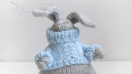 Толстый Робин, зайка в свитере, игрушка авторская, вязаная, интерьерная