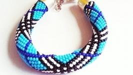 Браслет-жгут из бисера Лучший подарок девушке Синий браслет на руку