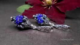Серебряные серьги Синяя Ночь